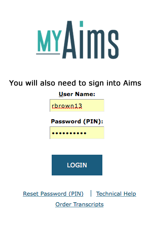 Aims Sign in image